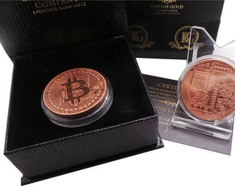 Bitcoin 18k Rose Gold Plated in Luxury Case with Certificate Virtual Digital Currency Gifts Business Cryptocurrency Collectors Coin in Box