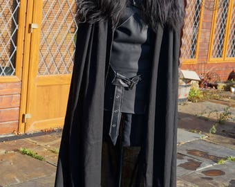 Reserved order, LittleShopCostumery...Payment 2 of 5....Game of Thrones 100% Real Leather & Sheep Skin ,deluxe heavy weight linen full cape.