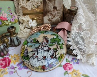 Vintage Crinoline Lady Round Domed Glass Picture 1940's