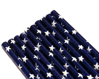 blue star straws, 4th of July, Independence Day, fourth, 10CT, patriotic decorations, blue foil, white stars, party supplies