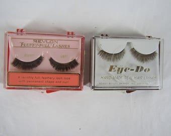 2 pair vintage false eyelashes Fluffy Full Real Hair