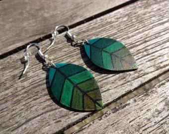 Earrings leaves in shades of green