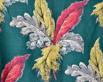 Vintage 40s Curtain // 1940s Green Floral Barkcloth Curtain Panel