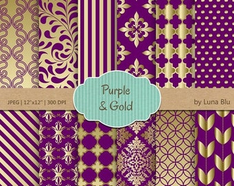 sale 50 off purple and gold digital paper purple and