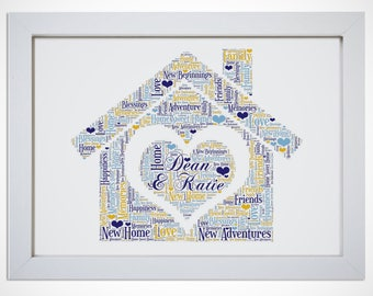 Personalised New Home Moving House Warming Word Art Gift