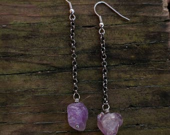 Rough Amethyst Gemstone Earrings // Rough cut Amethyst Drop Earrings // Rough Gemstone Earrings // Chain Drop Earrings // Gifts for Her