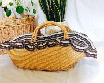 Very large straw basket| vintage hengselmand| beklede rieten hengselmand| large straw bag| straw bag| marketbag