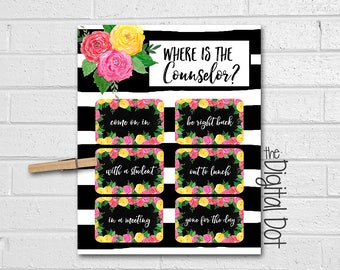 School Counselor Door Sign, Where Is The Counselor Door Sign, Guidance Counselor Gift, Door Print, Floral Watercolor Print, Roses, Stripes