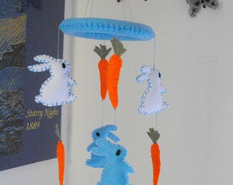 Bunny mobile - Baby boy mobile - Rabbit mobile - Bunny nursery art - Bunny nursery decor - Felt baby mobile - Blue baby mobile