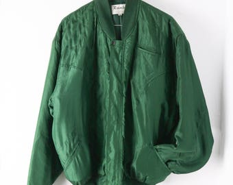 Pure Silk green bomber jacket, green bomber, vintage bomber, green jacket, oversized , size medium, satin green, emerald green, quilted