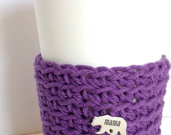Cozy, purple Cup Sleeve, with Mama Bear pin, Coffee Sleeve, Reusable Eco friendly cup cozy, gift for Mom, coworker gift, stocking stuffers