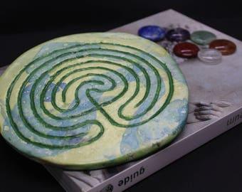 Tabletop Finger Labyrinth for Meditation - Green Marbling