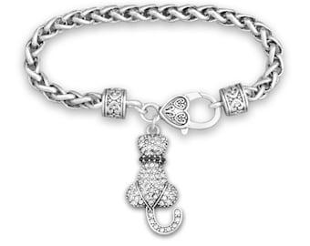 Cat Rhinestone Charm Bracelet