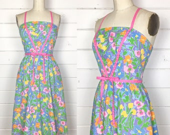 Vintage 1970s Purple Floral Fit & Flare Sundress / Cross Back / Made by Jenni / Full Skirt
