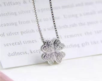 1PC Four leaf clover,925 sterling silver Jewellery Findings,Pendant or 2-strand Spacer, with cubic zirconia ,12mm,4mm thick- FDSSS0437
