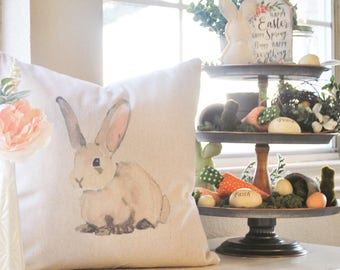 Farmhouse Easter Pillow Cover | Easter Bunny Throw Pillow | Watercolor Pillow Cover | Farmhouse Cottage Decor | Easter Decor