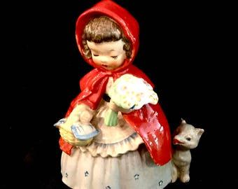 Vintage Little Red Riding Hood, with Big Bad Wolf, NAPCO Foil Label, Fairy Tale Figurine, Mid Century Japan, Ceramic Figurine, 1956, Signed