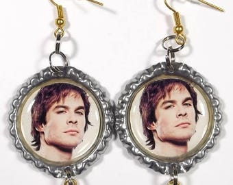 SALE 25% OFF Ian Somerhalder Earrings - 1 Pair - With Double Star Charms Vampire Diaries Damon
