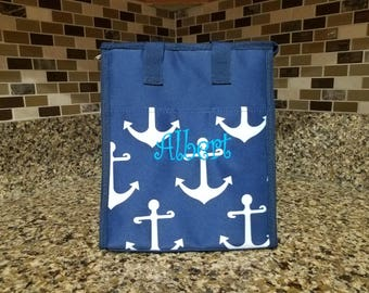 Anchor Navy Blue White Lunch bag with Personalized Name or Monogram-School lunch bag