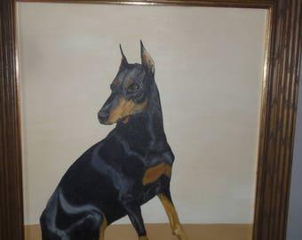 Vintage 1983 Dorverman Pincher Portrait Oil on Canvas/ Signed