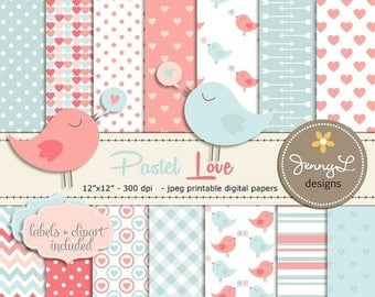 50% OFF Pastel Valentine's Day Digital papers, Hearts Baby Shower, Baby Baptism, Nursery colors, Peach, Love Birds Clipart, Scrapbooking Pap