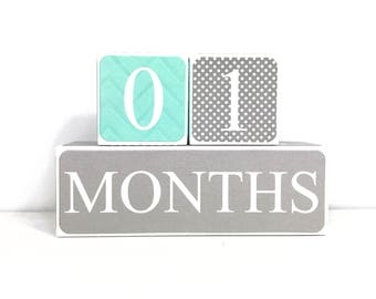Wooden Baby Age Blocks - Months, Years, Weeks, Grade - Nursury- Photo Prop- Shower Gift Turquoise Grey