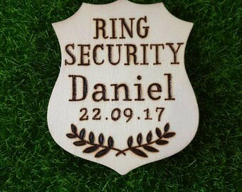Ring bearer / Page boy wooden police badge / Ring Security