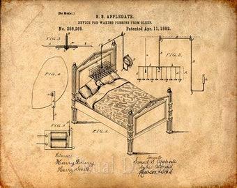 Alarm Clock Patent Print From 1882 - Patent Art Print - Patent Poster