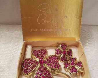 Vintage Pink Crystal Sarah Coventry Flower Brooch and Clip Earrings
