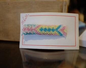 Pastel Woven Cross Stitch Hair Barrette Vintage Back Stock