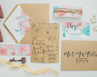 Soft Botanicals Wedding Invitation Suite