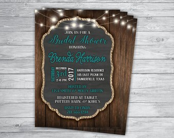 Any Event or Color STRING LIGHTS WEDDING Country Chic Vintage Barn wood Mint Printed Backyard Engagement I do Barbecue Picnic Invitation