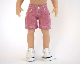 Hand-made Shorts in Pink Chambray <> <> To fit Kish Riley - MADE TO ORDER
