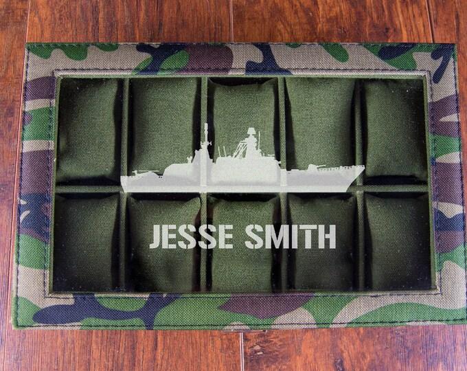 Navy Gift, Navy Military Watch Box, Military Boyfriend, US Navy Warship, Personalized Watch Display Case, Battleship Design