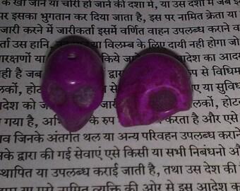 2 13x12x9mm purple howlite skull beads