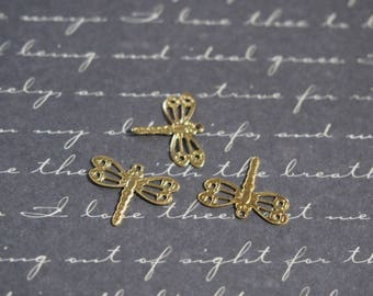 3 fine 14x12mm gold metal Dragonfly charms