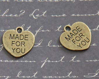 """2 heart charms """"Made for you"""" bronze 16x15mm"""
