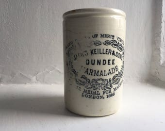 No3 Small Narrow 1lb James Keiller Antique Dundee Marmalade White Ironstone Jar London England 1880's