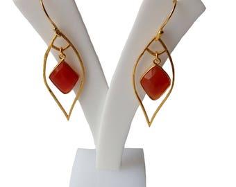natural carnelian gemstone earring