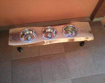 Industrial Dog Bowl, industrial style dog bowl stand | steampunk style | raised dog bowl stand