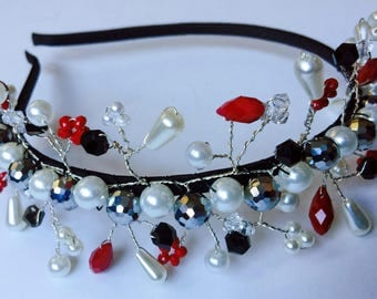 Headband w/Swarovski crystals, pearls & beads
