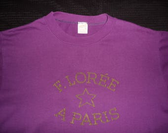 Vintage Original 1980s F. LOREE PARIS France Sportswear Soft Thin Purple T Shirt L