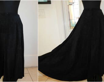 "Vintage Black Suede Maxi Skirt, Black Leather Suede Skirt, XS 24"" waist"