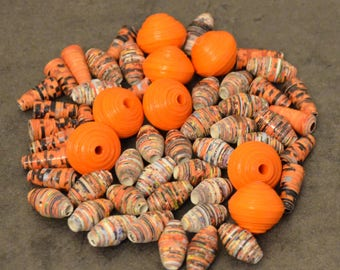 55 Handmade paper beads, orange-brown-white, two-fold lacquered, multiple shapes, upcycling
