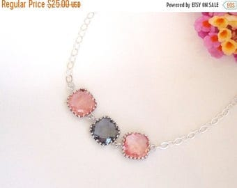 SALE Wedding Jewelry, Coral and Grey Bracelet, Grapefruit, Gray, Sterling Silver, Bridesmaid Jewelry,Bridesmaid Bracelet,Bridesmaids Gift,