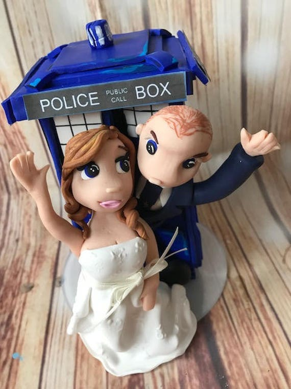 Wedding cake Topper with tardis/Dr. Who Fully Personalised a lovely keepsake - Bride and Groom/Same Sex/Wedding couple