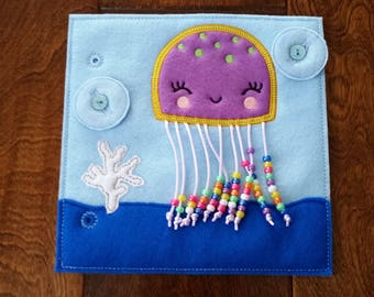 Jellyfish Counting Custom Quiet Book Page - Build a Personalized Busy Book Quiet Book Activity Book Busy Bag for Toddler Preschooler Gift