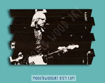 Tom Petty painting on reclaimed wood - Tom Petty tribute