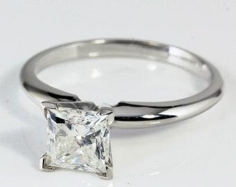 14K Gold 0.72 ct Princess Cut Diamond Solitaire Engagement Ring H VS1