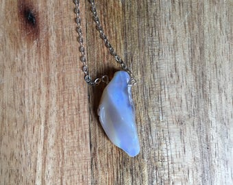 Opal Necklace - Opal - Opal Pendant Necklace - Opal Jewelry - Australian Opal Necklace -Silver Opal Necklace - Raw Opal Necklace